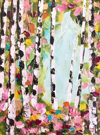 Painting by Giselle Denis Canadian fine artist of birch trees with pink and red foliage under a blue sky.