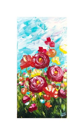 Painting by Giselle Denis Canadian fine artist of red poppies and yellow wildflowers under a blue sky.