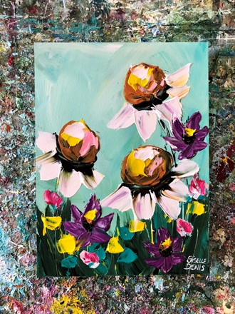 Painting by Giselle Denis Canadian fine artist of daisies, purple, yellow and blue flowers under a blue sky background.