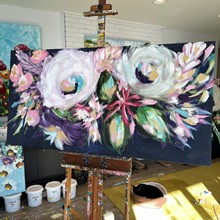 Painting by Giselle Denis Canadian fine artist of large white, pink and purple flowers on a navy blue back ground.