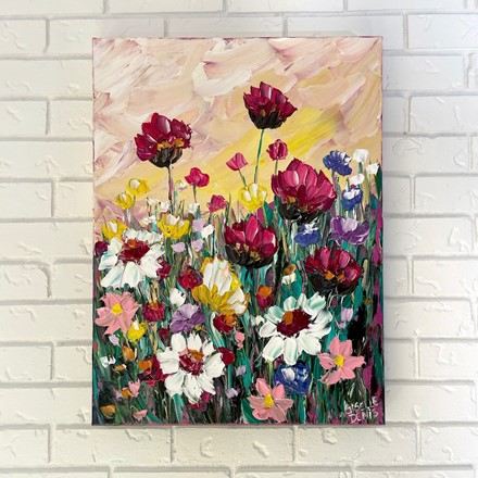 Painting by Giselle Denis Canadian fine artist of tulips, daisies and other wildflowers under a sun set sky.