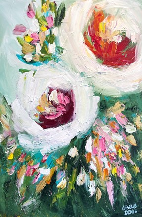 Painting by Giselle Denis Canadian fine artist of two abstracted white flowers with green and colourful foliage.