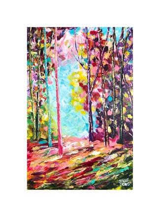 Painting by Giselle Denis Canadian fine artist of a colourful forest with a blue sky background.