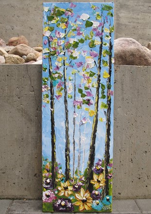 painting by Giselle Denis Fine Artist of a tall, skinny, colourful forest with wildflowers