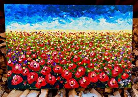 Painting by Giselle Denis Canadian fine artist of a field of red poppies under a bright blue sky.