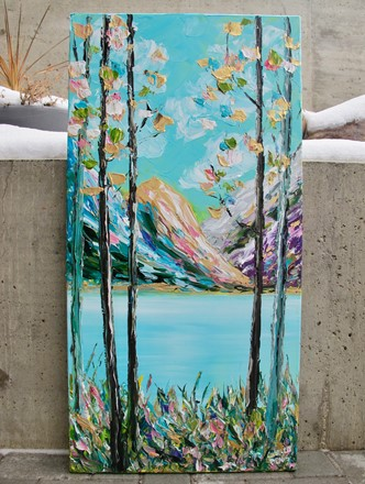 Painting by Giselle Denis Canadian fine artist of mountains with a lake and flowers and trees in the foreground