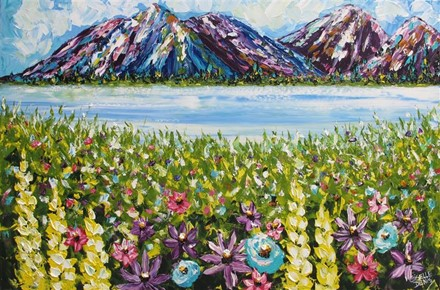 Painting by Giselle Denis Canadian fine artist of colourful mountains, a lake and wildflowers