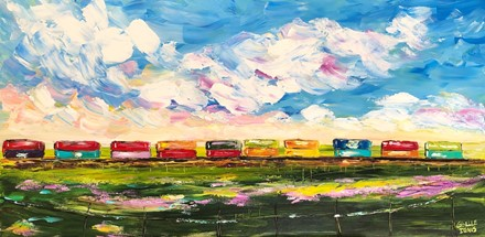 Painting by Giselle Denis Canadian fine artist of a colourful train under a blue sky with a green field in the foreground.