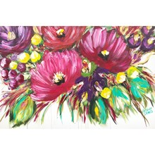 Painting by Giselle Denis Canadian fine artist of large colourful abstracted flowers on a white background.