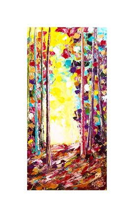 Painting by Giselle Denis Canadian fine artist of a colourful forest under a yellow sky.