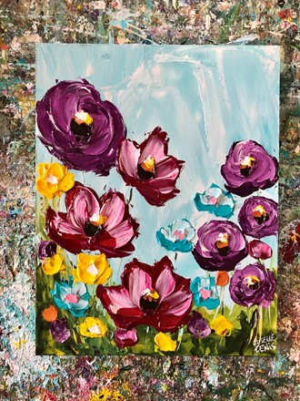 Painting by Giselle Denis Canadian fine artist of red, yellow and blue flowers under a blue sky background.