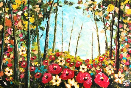 Painting by Giselle Denis Canadian fine artist of a colourful forest with poppies under a blue sky.
