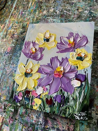 Painting by Giselle Denis Canadian fine artist of purple and yellow wildflowers.