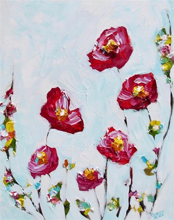 Painting by Giselle Denis Canadian fine artist offered flowers on a white background