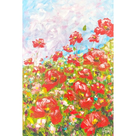 Painting by Giselle Denis Canadian fine artist of a field of red poppies under a blue sky.