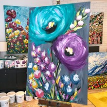 Painting by Giselle Denis Canadian fine artist of large abstract turquoise and purple flowers on a grey background.