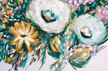 Painting by Giselle Denis Canadian fine artist of abstracted flowers in green, blue, pink and orange on a white background.