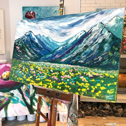 Painting by Giselle Denis Canadian fine artist of blue mountains with a flower meadow.