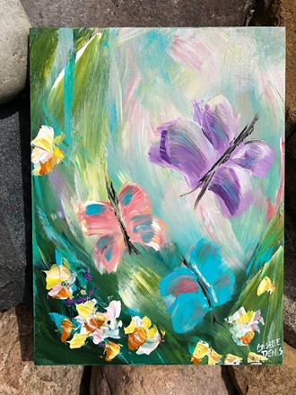 Painting by Giselle Denis Canadian fine artist of purple, pink and turquoise butterflies with colourful flowers on a green blue background.