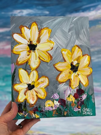 Painting by Giselle Denis Canadian fine artist of yellow wildflowers on a grey blue background.