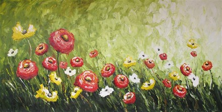 Painting by Giselle Denis Canadian fine artist of red poppies field with yellow and white flowers on a green background