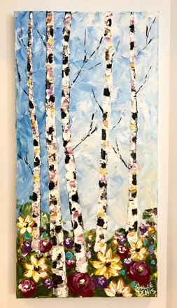 Painting by Giselle Denis Canadian fine artist of birch trees on a blue sky with colourful wildflowers.