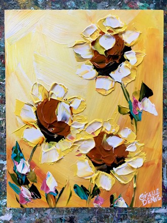 Painting by Giselle Denis Canadian fine artist of sunflowers on a yellow background.