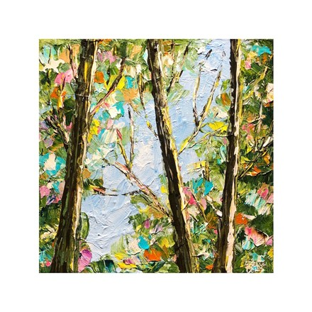 Painting by Giselle Denis Canadian fine artist of the view of tree tops with colourful leaves and a blue sky.