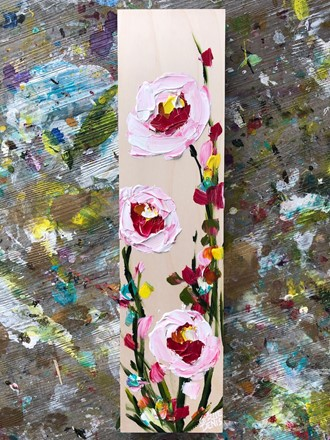 Painting by Giselle Denis Canadian fine artist of pink and white flowers on a birch wood background.