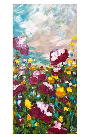 Painting by Giselle Denis Canadian fine artist of burgundy, pink and yellow wildflowers under a stormy blue sky.