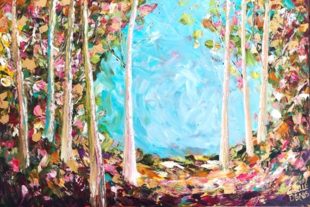Painting by Giselle Denis Canadian fine artist of a fall forest with a blue sky and very colourful foliage.
