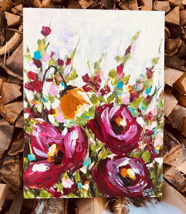 Painting by Giselle Denis Canadian fine artist of pink flowers under a white sky and colourful foliage.
