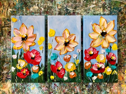 Painting by Giselle Denis Canadian fine artist of a set of three triptych with yellow, red and orange flowers.