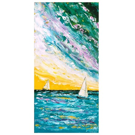 Painting by Giselle Denis Canadian fine artist of two white sailboats on a blu ocean under a colourful sunset sky.