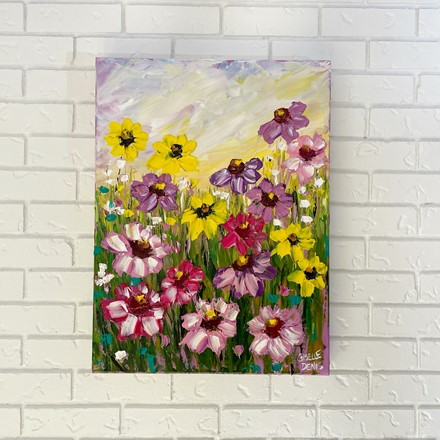 Painting by Giselle Denis Canadian fine artist of purple, yellow and pink flowers under s sunset sky background.