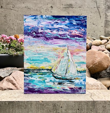 Painting by Giselle Denis Canadian fine artist of a colourful sky and ocean water with e sailboat and waves.