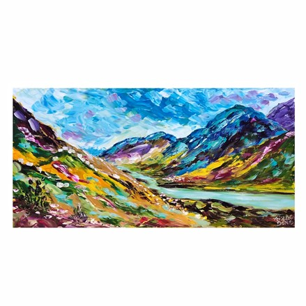 Painting by Giselle Denis Canadian fine artist of colourful mountains under a blue sky with a lake.