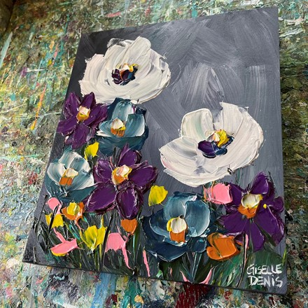 Painting by Giselle Denis Canadian fine artist of white, purple and blue flowers on a dark grey background.