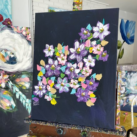 Painting by Giselle Denis Canadian fine artist of purple and pink cherry blossoms on a dark blue background.