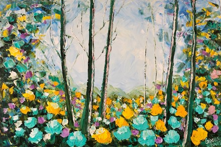 Painting by Giselle Denis Canadian fine artist of trees in a colourful forest with yellow and blue flowers in the foreground.