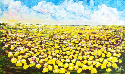 Painting by Giselle Denis Canadian fine artist of a yellow canola field under a blue sky.