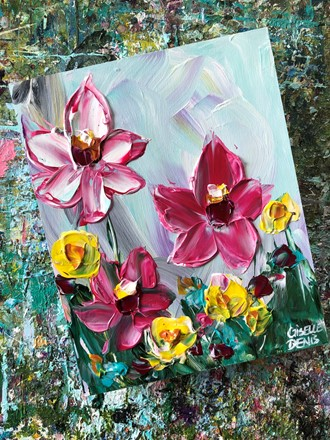Painting by Giselle Denis Canadian fine artist of pink and yellow flowers under a blue sky.