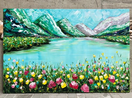 Painting by Giselle Denis Canadian fine artist of emerald colours mountains with a lake and colourful flowers in the foreground.