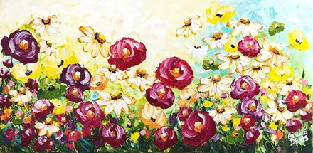 Painting by Giselle Denis Canadian fine artist of poppies and wildflowers under a blue and yellow sky.