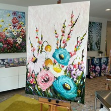 Painting by Giselle Denis Canadian fine artist of teal, pink and white flowers with blossoms on a white background.