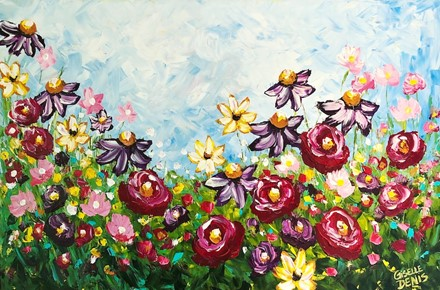 Painting by Giselle Denis Canadian fine artist of colourful wildflowers under a blue sky.