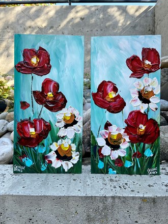 Painting by Giselle Denis Canadian fine artist of red poppies and white daisies on a blue sky background.