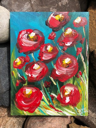 Painting by Giselle Denis Canadian fine artist of poppies on a blue background with colourful grasses.