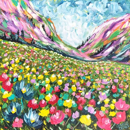 Painting by Giselle Denis Canadian fine artist of colourful mountains under a blue sky with colourful wildflowers in the foreground.