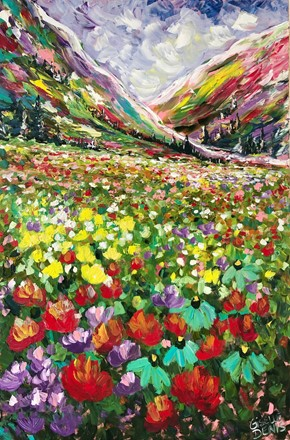 Painting by Giselle Denis Canadian fine artist of colourful mountains under a blue purple sky with wildflowers in the foreground.